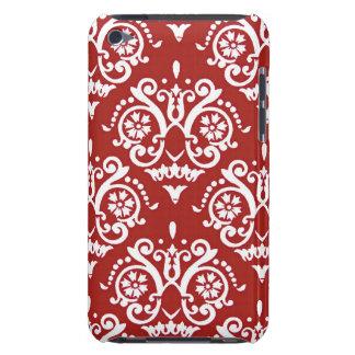 Damasco clásico rojo y blanco iPod Case-Mate cobertura