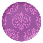 Damasco color de rosa platos de comidas