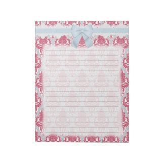 Damasco color de rosa y azul elegante lamentable bloc de notas