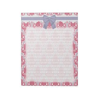 Damasco color de rosa y de la lila elegante blocs de notas