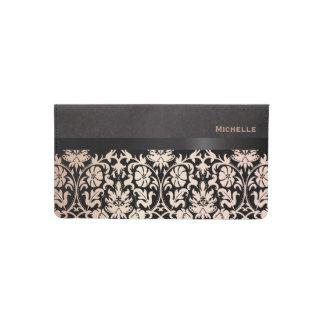 Damasco color de rosa y negro floral bonito funda para chequera