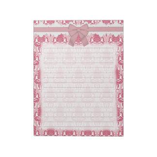 Damasco color de rosa y rosado elegante lamentable bloc