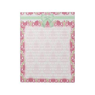 Damasco color de rosa y verde elegante lamentable libretas para notas