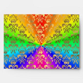 Damasco coloreado arco iris multicolor sobres