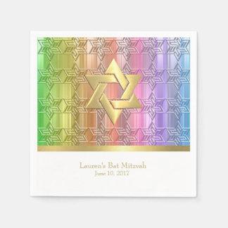 Damasco colorido de la estrella del arco iris de servilleta de papel
