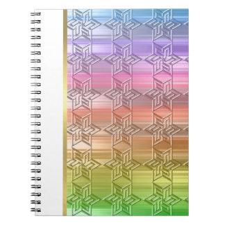 Damasco colorido de la estrella del arco iris del libreta
