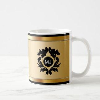 Damasco con clase de las tazas de café del monogra