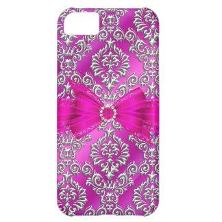 Damasco con clase elegante de la plata de las rosa funda para iPhone 5C