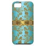 damasco con clase elegante del oro del trullo del  iPhone 5 Case-Mate coberturas