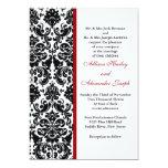 Damasco con la invitación roja del boda del acento invitación 12,7 x 17,8 cm