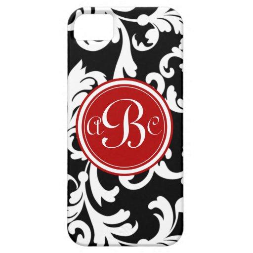 """Damasco con monograma de """"B"""" en rojo y negro iPhone 5 Case-Mate Fundas"""