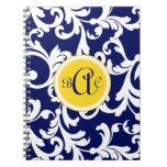 Damasco con monograma de los azules marinos y del  libro de apuntes con espiral