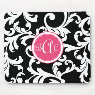 Damasco con monograma del rosa y del negro tapete de raton