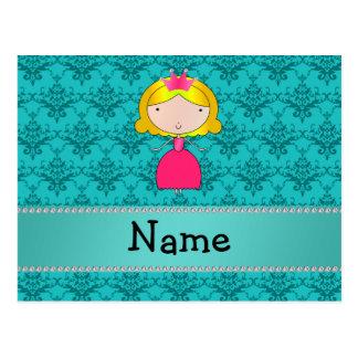 Damasco conocido personalizado de la turquesa de l tarjeta postal