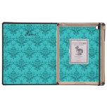 Damasco conocido personalizado de la turquesa del iPad carcasa