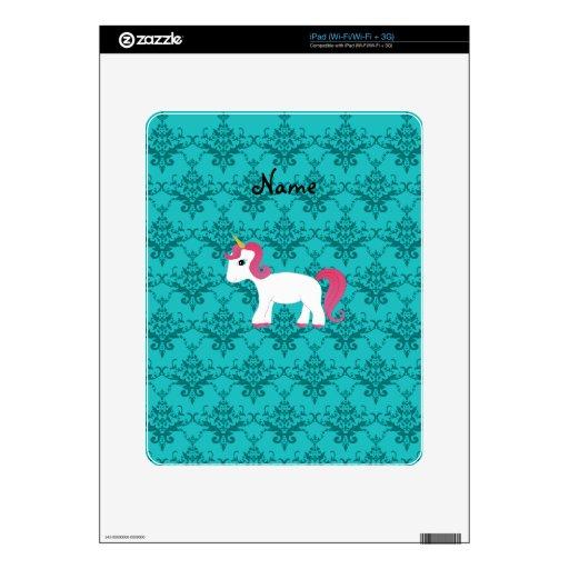 Damasco conocido personalizado de la turquesa del  skins para iPad