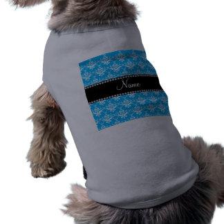 Damasco conocido personalizado del blanco del azul camisetas de mascota