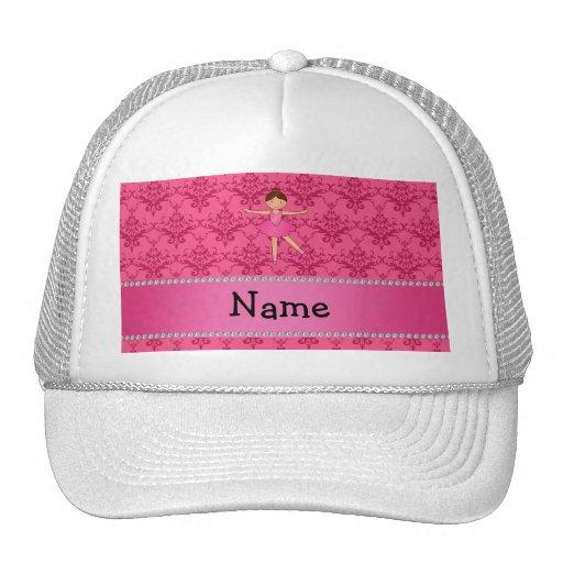 Damasco conocido personalizado del rosa de la bail gorros bordados