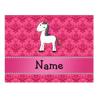 Damasco conocido personalizado del rosa del postal