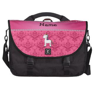 Damasco conocido personalizado del rosa del unicor bolsas para portátil