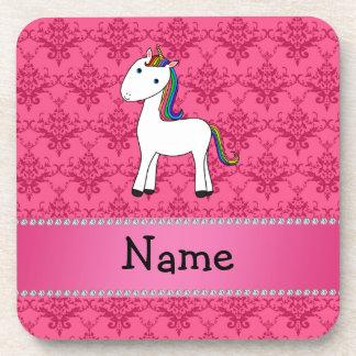 Damasco conocido personalizado del rosa del unicor posavasos
