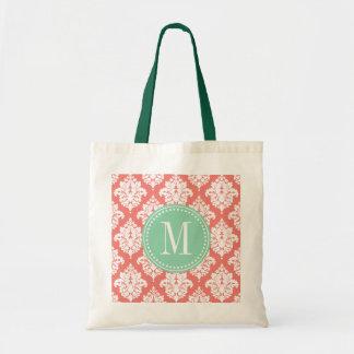 Damasco coralino elegante personalizado bolsa tela barata