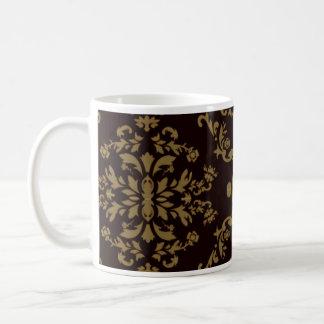 Damasco creativo de Brown y floral blanco Taza De Café