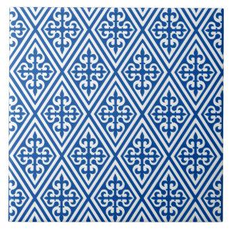 Damasco cruzado medieval - azul y blanco de azulejo cuadrado grande