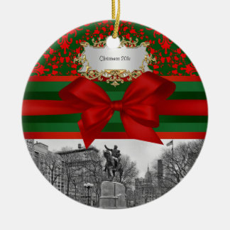 Damasco cuadrado #2R de Navidad del invierno NYC Adorno Redondo De Cerámica