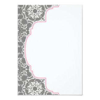 Damasco de AnnaLiese - el rosa y el gris le Invitación 12,7 X 17,8 Cm