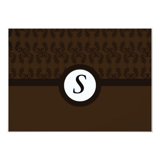 Damasco de color marrón oscuro que casa el invitación 12,7 x 17,8 cm
