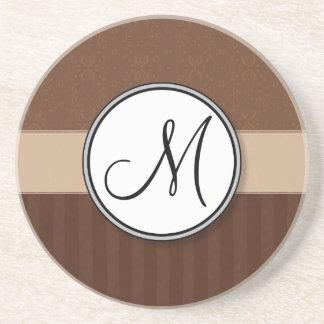 Damasco de cuero de Brown con las rayas y el monog Posavasos Personalizados