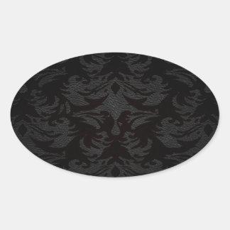 damasco de cuero de lujo de la mirada pegatina ovalada
