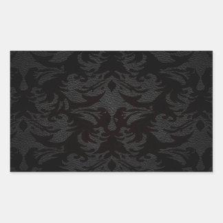 damasco de cuero de lujo de la mirada pegatina rectangular