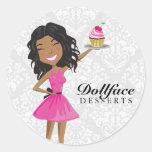 Damasco de Ebonie de 311 de Dollface rosas fuertes Pegatina Redonda
