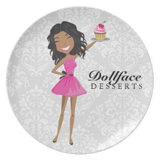 Damasco de Ebonie de 311 de Dollface rosas fuertes Platos Para Fiestas