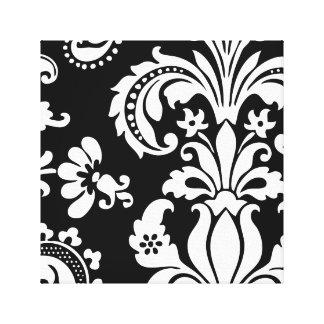Damasco de encargo blanco y negro impresión en lona estirada
