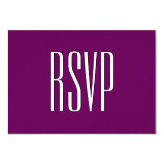 "Damasco de encargo púrpura de RSVP de la berenjena Invitación 3.5"" X 5"""