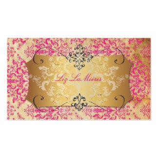 Damasco de Étienne de las rosas fuertes/del vintag Plantillas De Tarjetas Personales