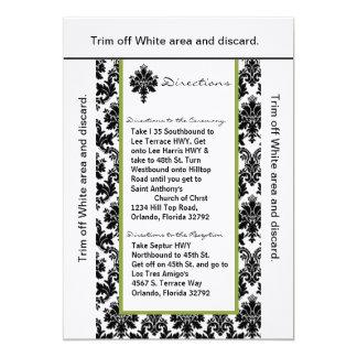 """damasco de Gree del negro de la tarjeta de las Invitación 5"""" X 7"""""""