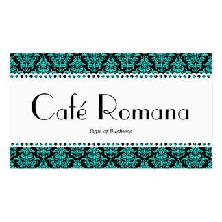 Damasco de la aguamarina de Café Romana (horneado Tarjetas De Visita