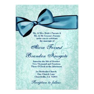 Damasco de la aguamarina y boda azul del arco invitacion personalizada