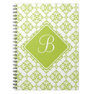 Damasco de la estrella del verde de la Atlántida Spiral Notebook