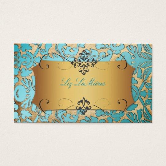 Damasco de la flora del vintage de tarjetas de visita