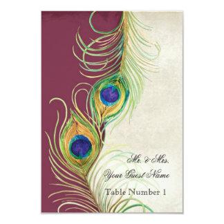 Damasco de la frambuesa de la pluma del pavo real invitación 8,9 x 12,7 cm