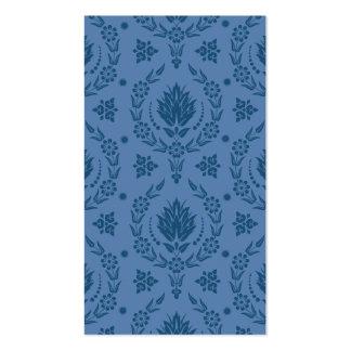 Damasco de la margarita bambú en sombras del azul plantillas de tarjetas de visita