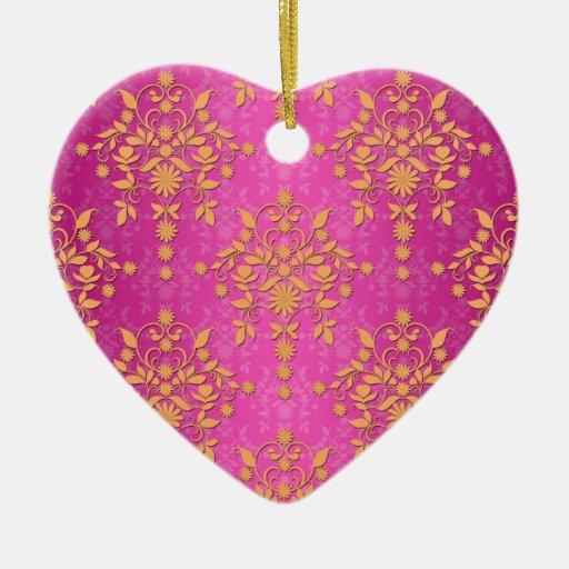 Damasco de la margarita del tango de la mandarina ornamentos de navidad