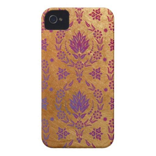 Damasco de la margarita, metal cepillado en oro co Case-Mate iPhone 4 protectores