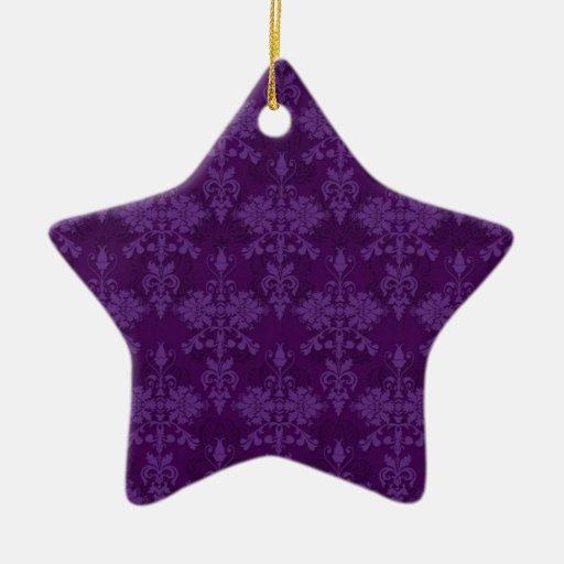 Damasco de la púrpura de dos tonos adorno navideño de cerámica en forma de estrella