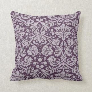 Damasco de la púrpura de la berenjena cojín decorativo
